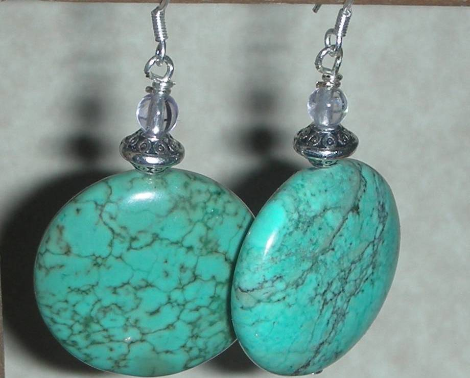 Primary image for BEAUTIFUL TURQUOISE AND WHITE TOPAZ BEADS EARRINGS