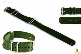 20mm Fits Luminox Nylon Woven Green Watch Band Strap 4 S/S Rings - $19.51