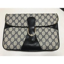 Auth Gucci Clutch Grey OLD Gucci Vintage GG Logo Medium Gucci Dionysus G049 - $196.02