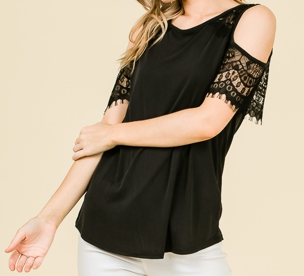 Black Cold Shoulder Top, Lace Cold Shoulder Top, Cut Out Sleeve Top, Womens