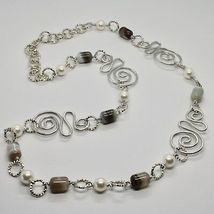 NECKLACE THE ALUMINIUM LONG 80 CM WITH CHALCEDONY AND PEARLS WHITE image 3