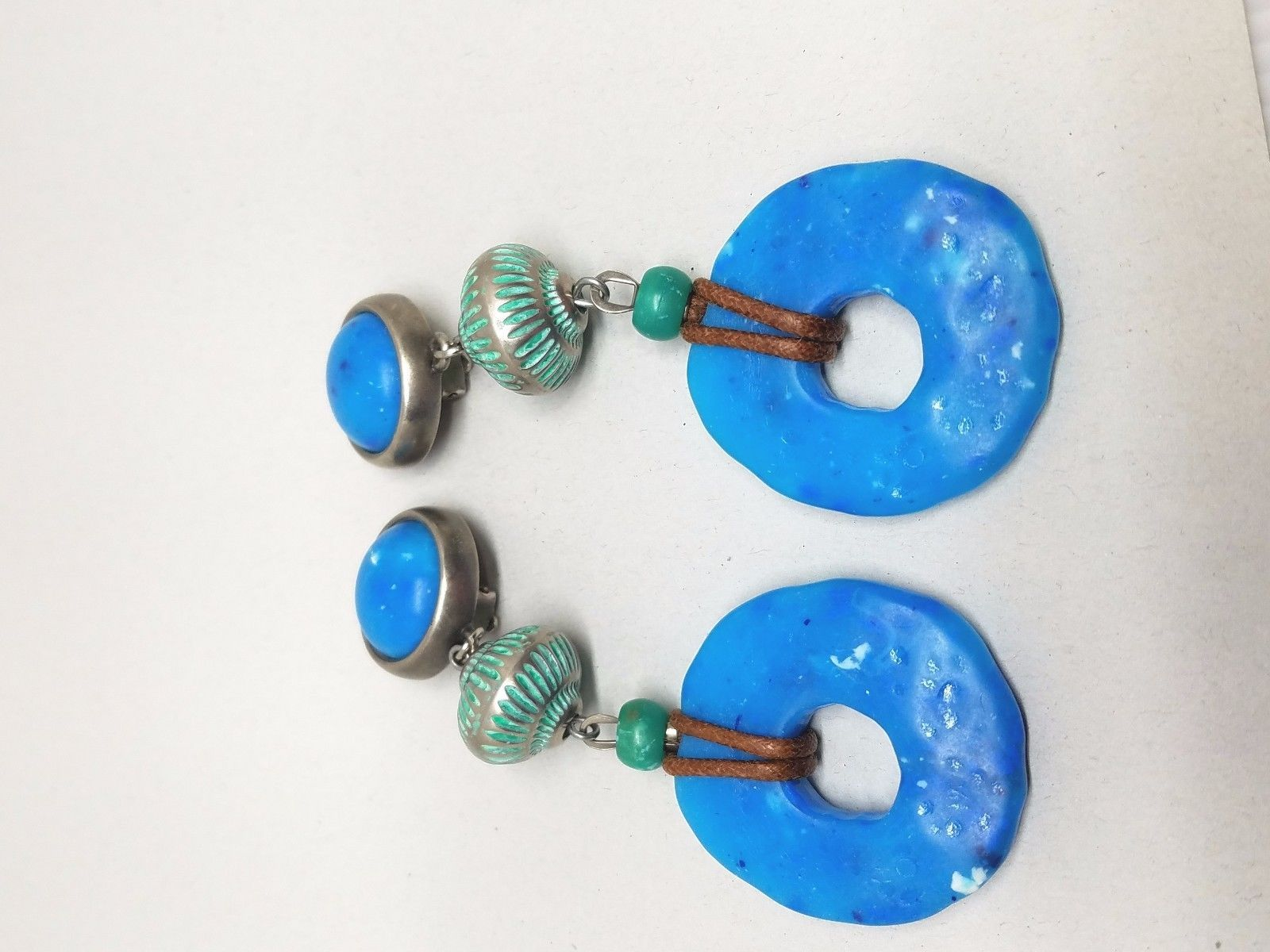Vintage boho Hippie Earrings Blue Turquoise Color Drop Clipon Earrings