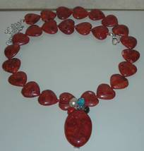 Genuine Natural Coral Hearts Stone  Beads Necklace - $100.00