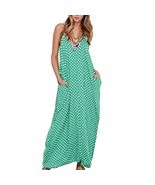 Romacci Women V Neck Polka Dot Spaghetti Strap Dress Boho Beach Long Max... - $19.26