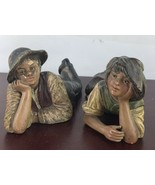 Vintage BB 7656 AX And BB 7669 AY Ceramic Boy And Girl Decor ( 2 Pieces) - $18.70