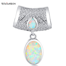 Party Cz White Fire Opal Silver Stamped Necklace Pendants Women Fashion ... - $13.28