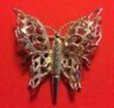 Vintage Monet Silvertone Metal Filigree Butterfly Brooch Pin  - $17.79