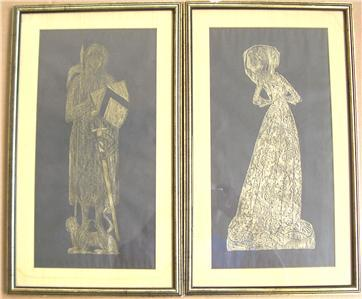 Lady Margaret & Sir Thomas Peyton Framed Brass Rubbing Print Art Set ENGLAND