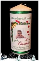 "Grandparents Personalised gift  Christmas candle large 6""inch  #1 - $19.18"