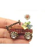 Vintage Bee Flower Wagon Cart Pin Rhinestone Crystal Brooch Wheels Move Monet - $24.70