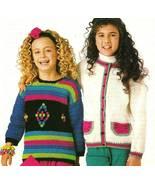 Y638 Knit/Crochet PATTERN ONLY 2 Child Sweaters Watermelon/Bobbles Pattern - $7.45