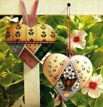 Y648 Painting PATTERN ONLY Painted Patchwork Heart Ornaments Pattern - $7.50