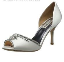 Badgley Mischka Pamina White Satin Women's Evening High Heels Peep Toe P... - £71.77 GBP