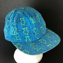 Vans Off The Wall Snapback Hat Cap Blue Fish Print One Size Adjustable - $21.49