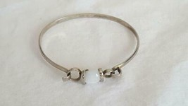 "8"" Hallmark Genuine White Moonstone Snap Bangle Bracelet, Silvertone, Designer, - $14.84"