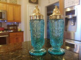 Westmoreland English Hobnail Ice Blue Round Foot SALT/PEPPER Shakers Rare! - $146.54