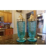 Westmoreland ENGLISH HOBNAIL ICE BLUE ROUND FOOT SALT/PEPPER SHAKERS Rare! - $155.82