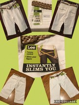 NEW! Ladies Lee Capri Sz 6 Med White Belted Slimming Stretch Retail $42 New W/T! - $12.86