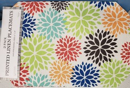 """Set Of 2 Fabric Linen Placemats 12"""" X 18"""", Multicolor Flowers Circles By Bh - $9.89"""