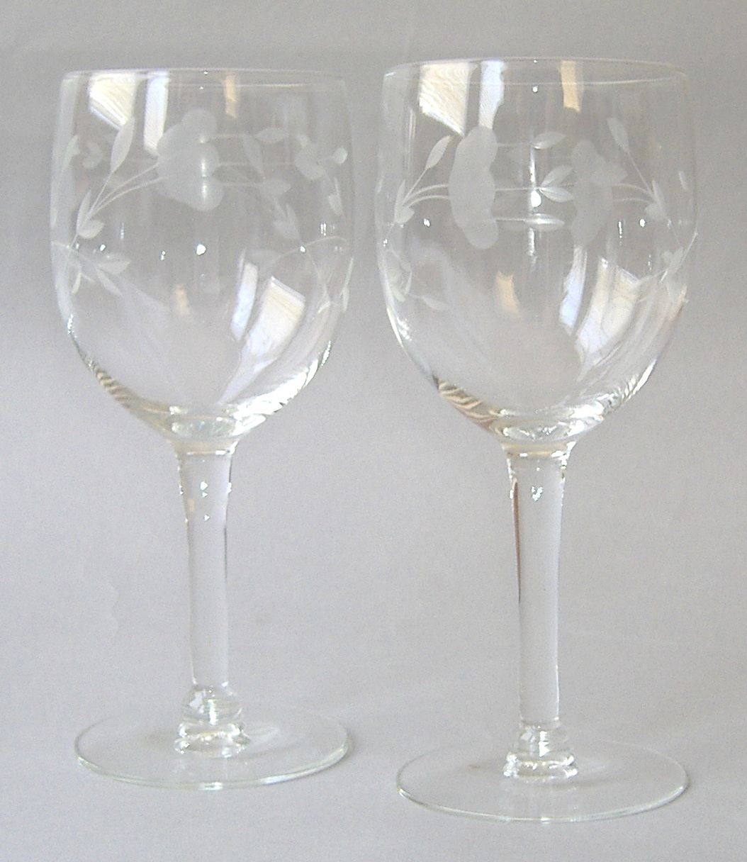 2 princess house heritage wine 6 handblown crystal cut for Princess housse