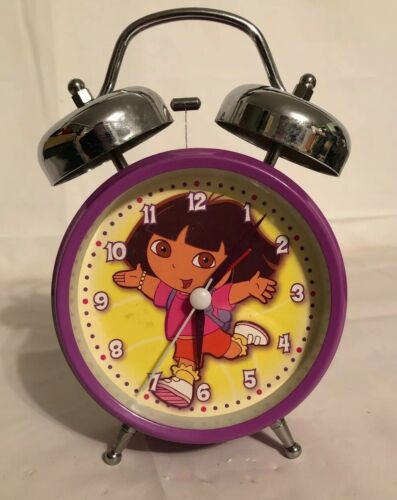 Primary image for DORA The EXPLORER TWIN 2 BELL ALARM CLOCK. Purple Yellow Decor.