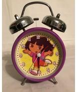 DORA The EXPLORER TWIN 2 BELL ALARM CLOCK. Purple Yellow Decor. - $9.27