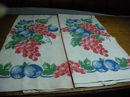 2  Vintage Kitchen Tea Towels  Fruit grapes cherries leaves - $15.00