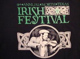 Vintage 9th Annual North Texas Irish Festival Souvenir Black T Shirt Size L - $14.76