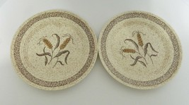 Homer Laughlin Table Fair Two Luncheon Plates Wheat Pattern Specked Country Sage - $19.79