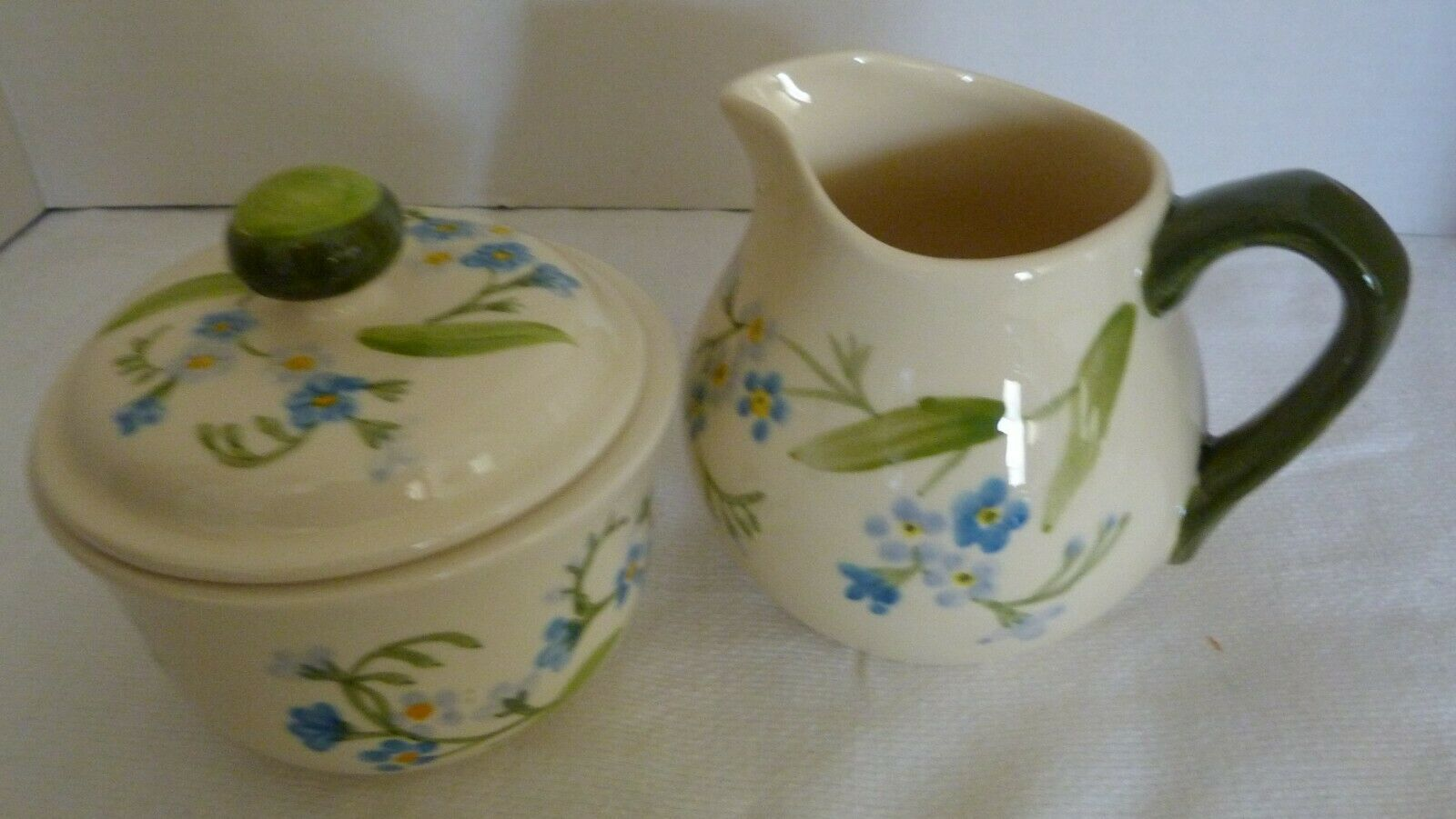 "Vintage Franciscan China ""FORGET ME NOT"" Covered Sugar Bowl and Creamer Set"
