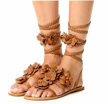 $325 Tory Burch Blossom Gladiator Sandals Tan Floral Shoes Flats Flops 7... - £107.23 GBP
