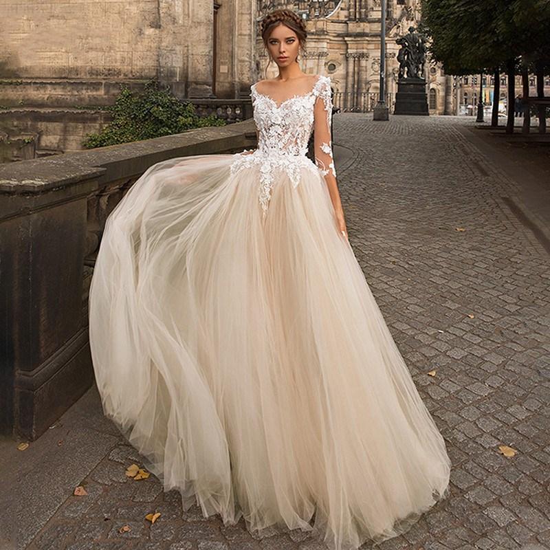 Lekka szampa ska koronkowa suknia lubna 2020 linia 3 4 r kawy dekolt 3d appliqued suknie
