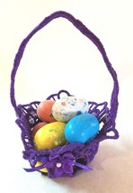 Embroidered Lace Tiny Easter Basket Purple For Favors - $12.00