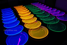 Assorted Neon Blacklight Reactive 7.5 Inch Sturdy Plastic Party Plates -... - $11.95