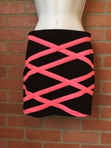 Forever 21 Sexy Mini Skirt Small Hot Pink & Black Stretchy (K24) - $9.89
