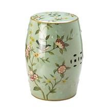 Round Ceramic Stool, Floral Decorative, Garden Stools Ceramic,green Back... - £139.38 GBP
