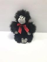 "Aurora Black Monkey Gorilla Plush Red Bow 9"" - $17.81"