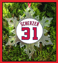 Scherzer Jersey Christmas Ornament - X-MAS Snowflake - Washinton Baseball - $12.95