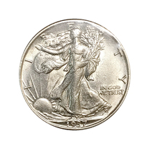 1937 S Walking Liberty Half Dollar - Choice BU / MS / UNC - $129.45