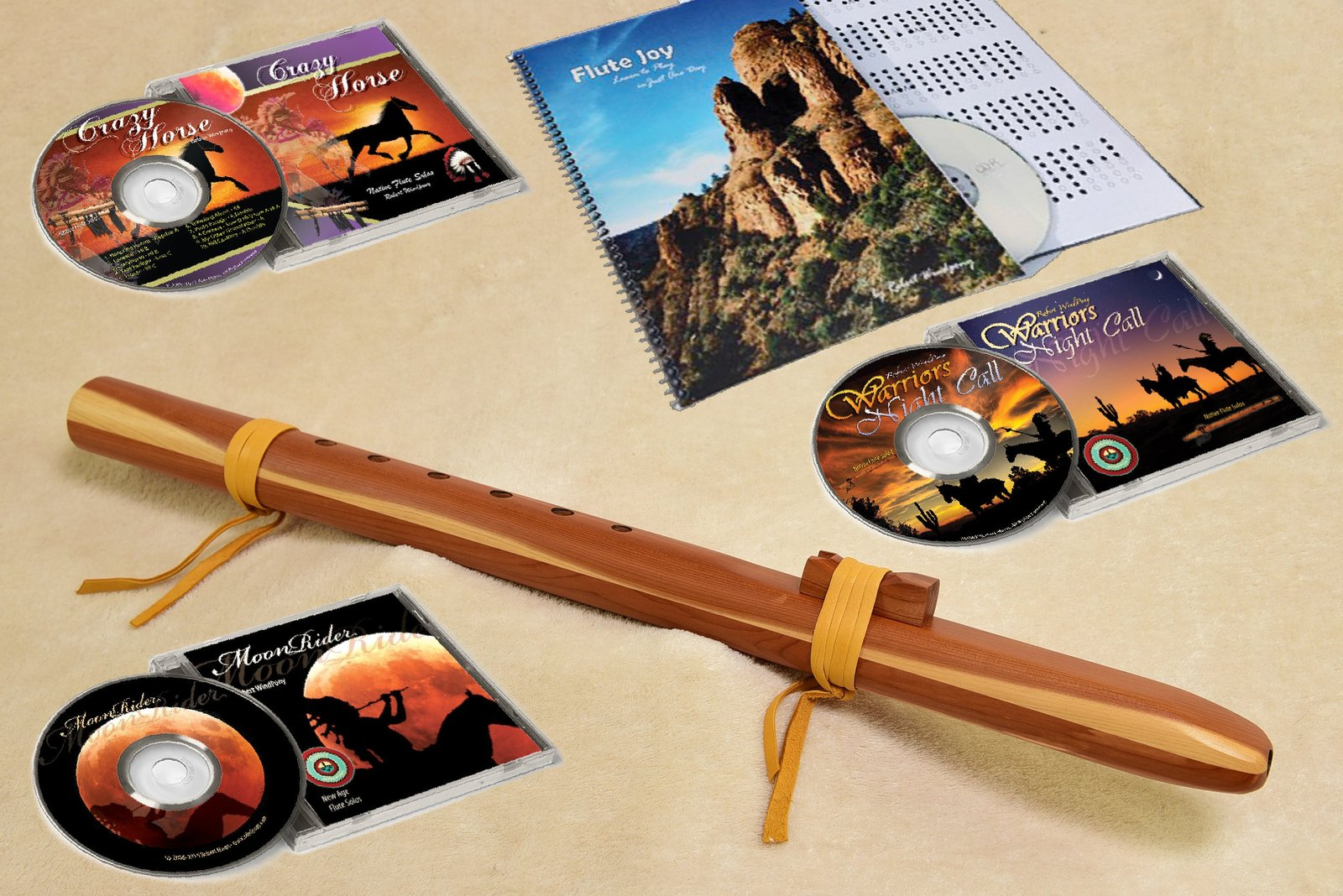 Windpony Cedar Flute in the Key of G with Instruction Book and 3 Flute CD's