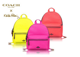 Coach Mini Charlie Backpack F 11774 F 11769  X Keith Haring pink yellow ... - $117.81+