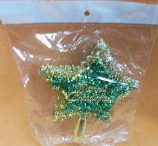 Novelty Inc Green/Gold Tinsel Merry Christmas Tree Topper#XM-638GG UPC:7... - $7.87
