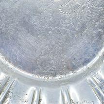 Vintage Hand Engraved Hammered Floral Pattern Silver-Tone Metal Serving Platter image 9