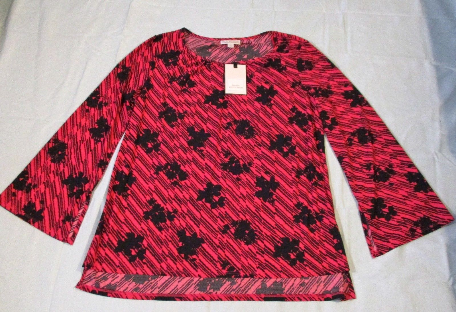 c0bf10064da1f6 57. 57. Previous. Dana Buchman Womens Blouse Size Large Scarlet Red Floral  Long Sleeve Career Top