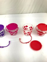 Set Of 4 Valentine Plastic Gift Baskets Bucket With Removable Lids And H... - $8.00