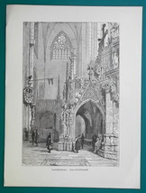 GERMANY Interior of Halberstadt Casthedral - 1877 Wood Engraving Illustr... - $8.09