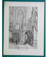 GERMANY Interior of Halberstadt Casthedral - 1877 Wood Engraving Illustr... - $8.09