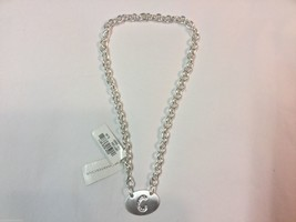 Charter Club Womens Oval Letter C Rhinestone Chainlink Necklace - $17.00