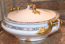 PL Limoges France M Redon Round Casserole Tureen Blue Floral Porcelain Gold - $79.99