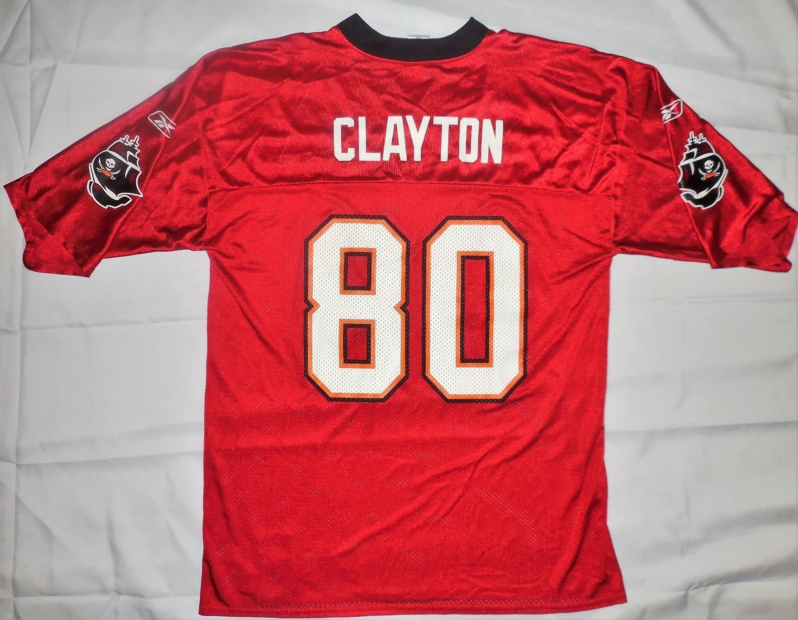 Primary image for Tampa Bay Buccaneers Clayton #80 Football Jersey Reebok NFL Players Large Red